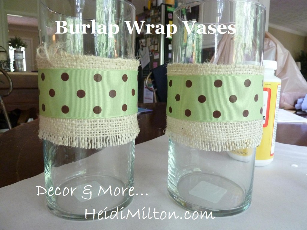 burlap wrap vases
