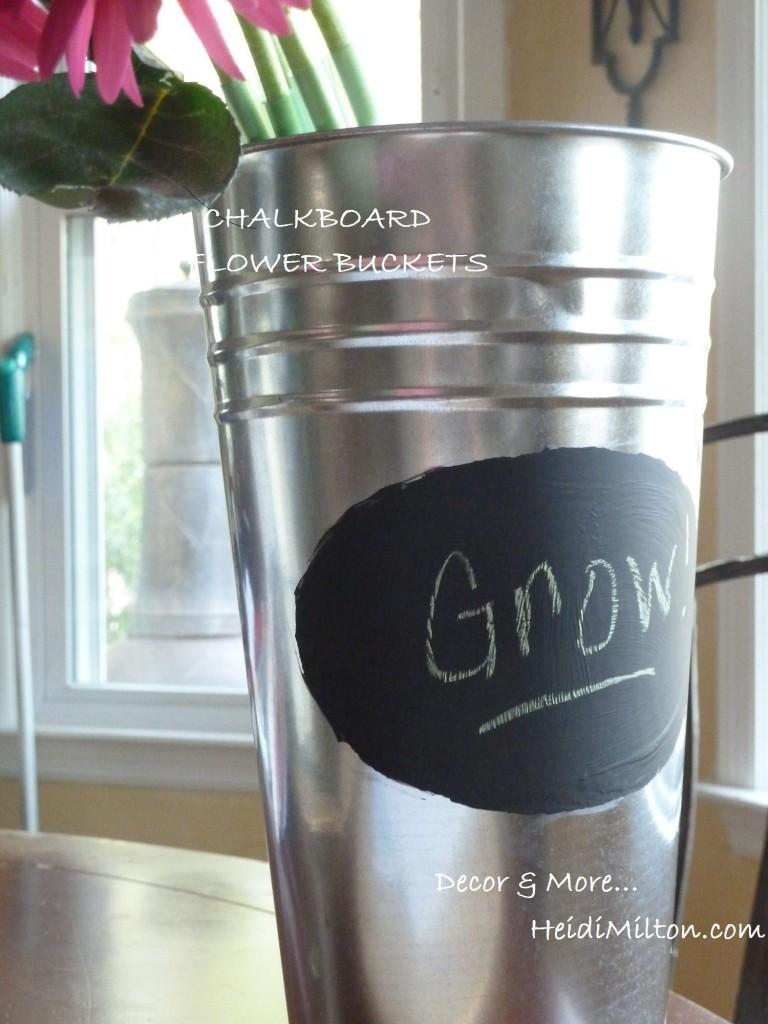chalkboard flower bucket
